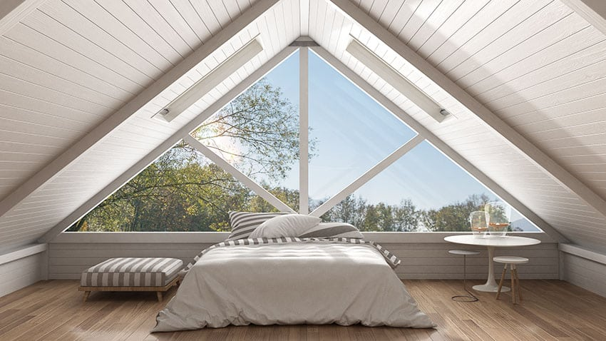 Attic bedroom with white ceiling