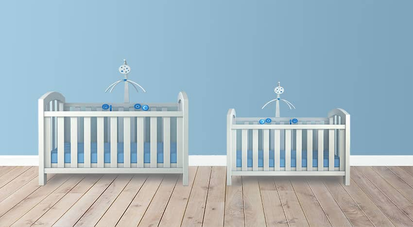 Big and small crib with mattress is