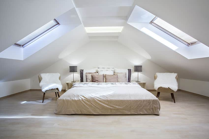 Fully finished bedroom velux attic with side chairs black lamp shades