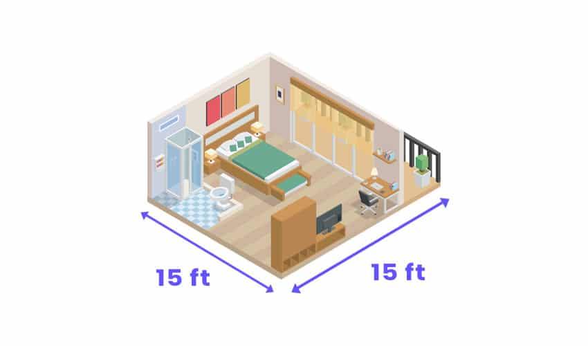 Isometric bedroom with size measurement