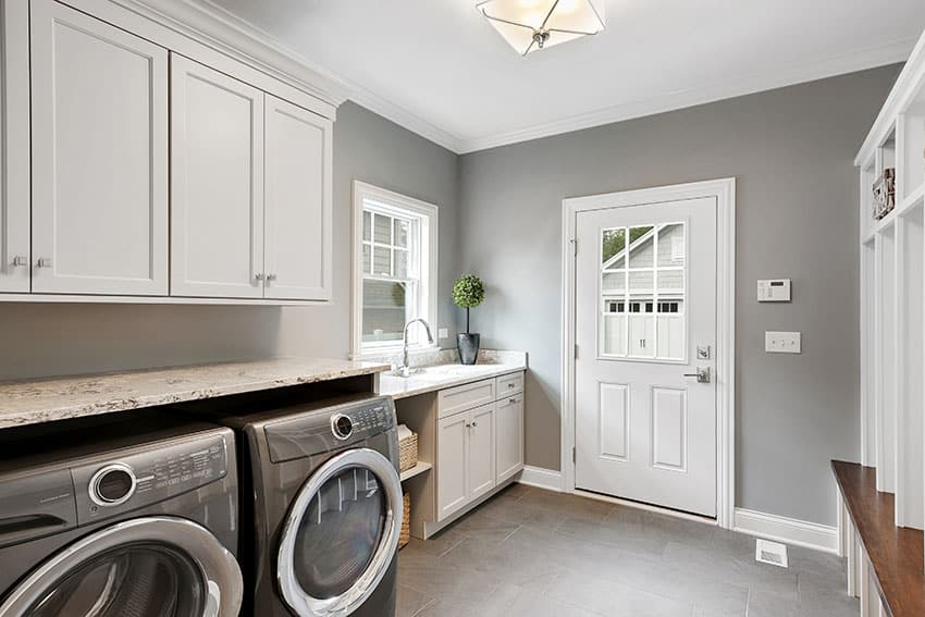 Laundry room white cabinets gray paint is