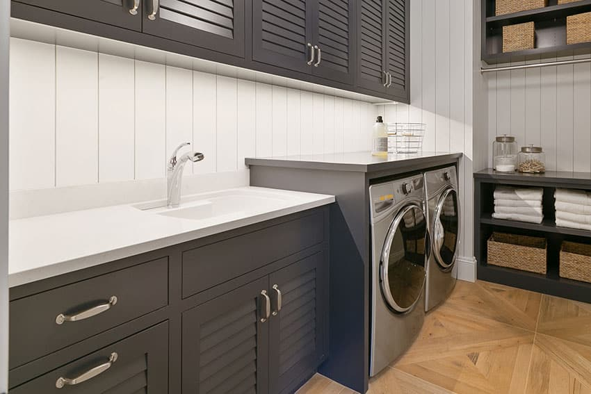 Laundry room with black cabinets small basin sink is