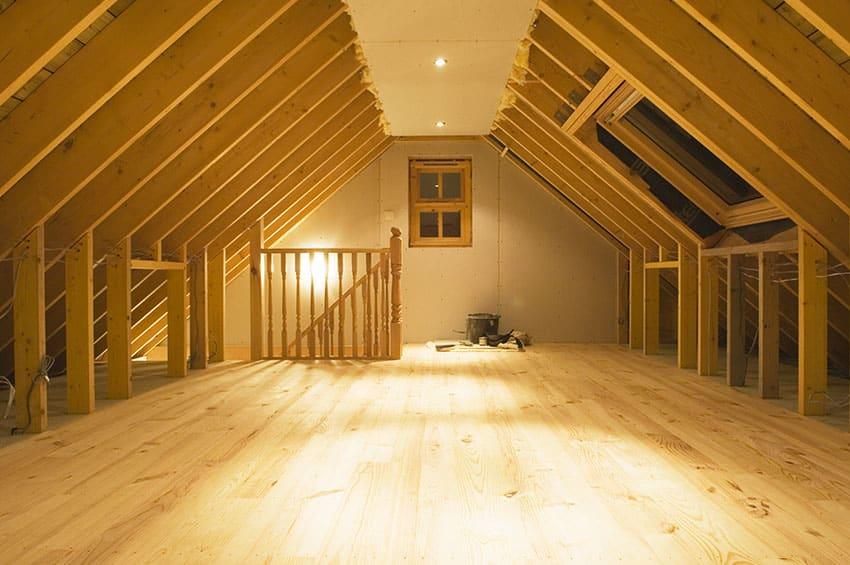 Truss attic with wood flooring