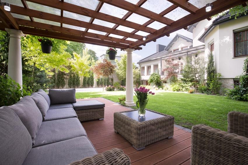 Aluminum patio cover with comfy rattan sofas