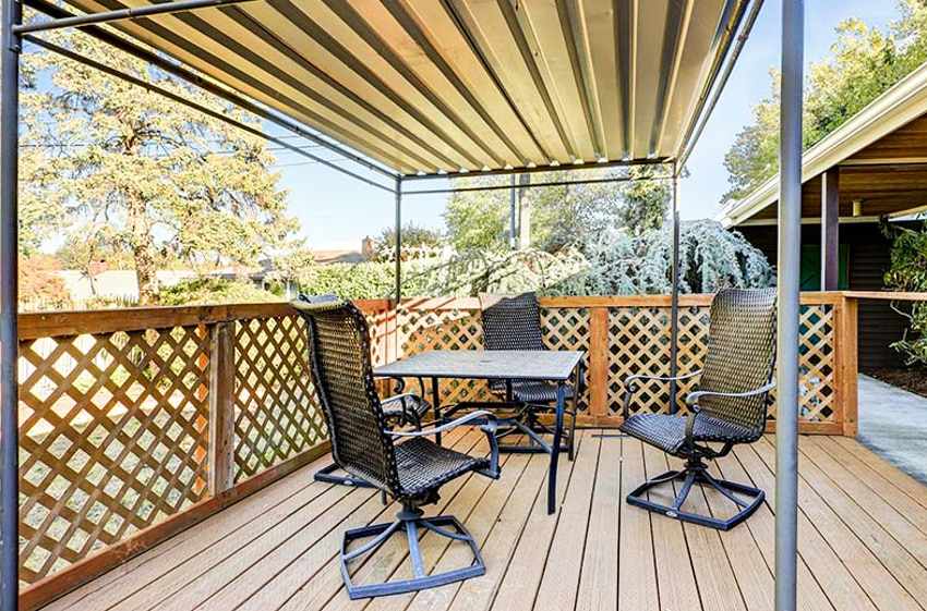 Aluminum roof pergola wood deck table and chairs