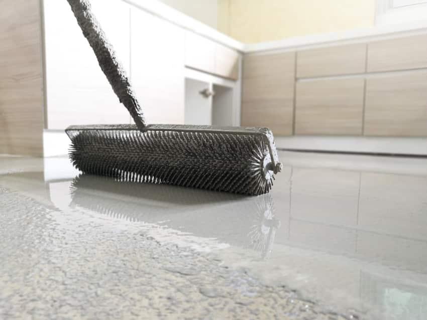 Applying epoxy over floor tiles