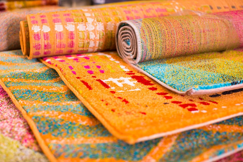 Assorted colorful viscose rugs