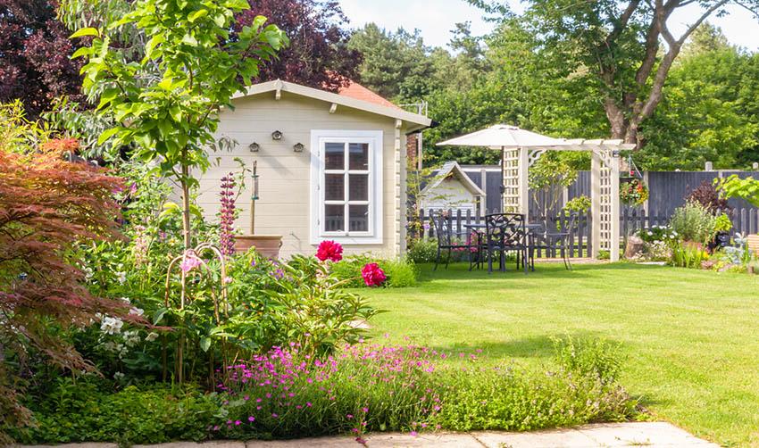 Backyard guest house adu in garden