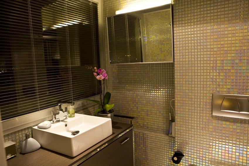 Bathroom interior with aluminum blinds