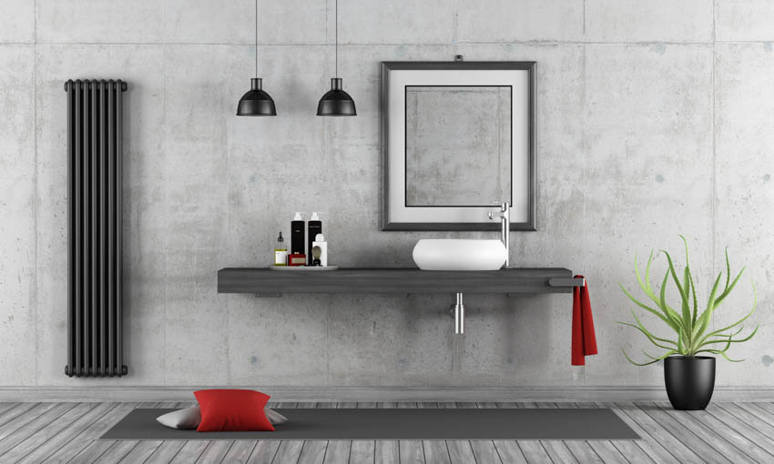 Bathroom with floating concrete countertop wall hanging light rug mirror sink indoor plant