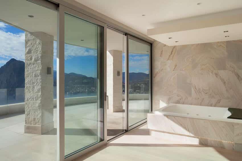 Bathroom with sliding glass doors to patio