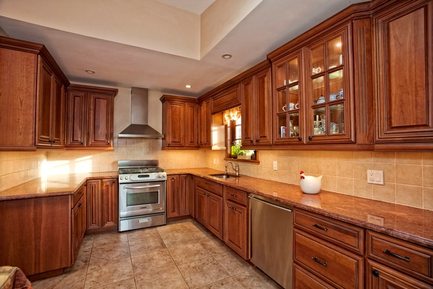 Beautiful home kitchen with hardwood cabinets