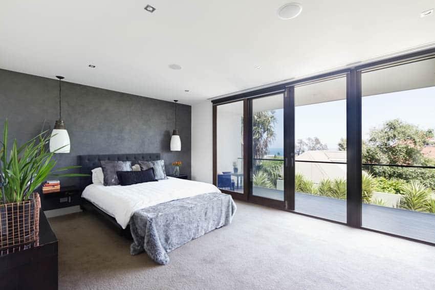 Bedroom with sliding glass doors