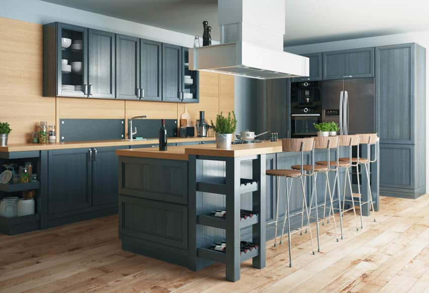 Black and wood themed kitchen with center island