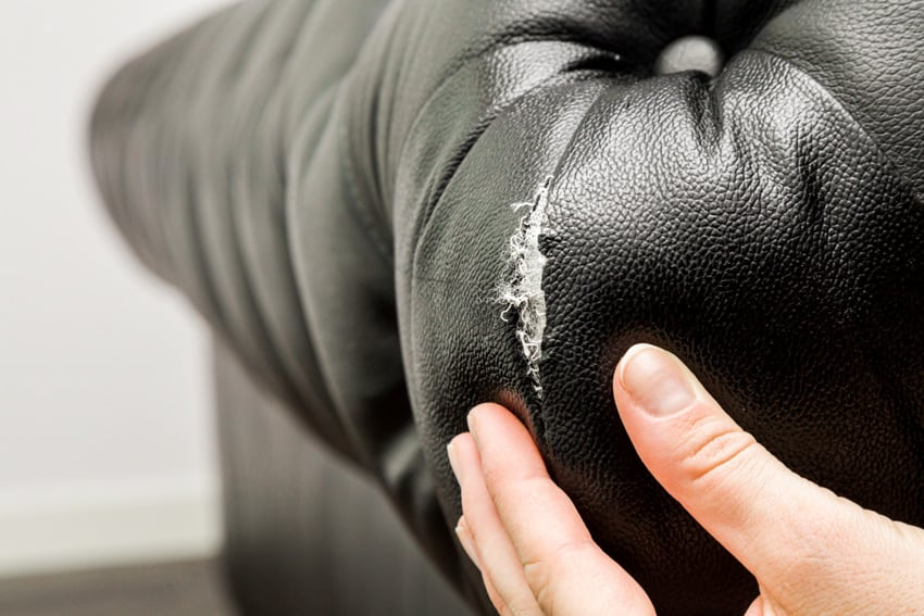 Black faux leather peel fix