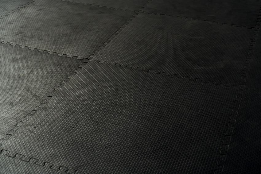 Black rubber tiles patio ideas