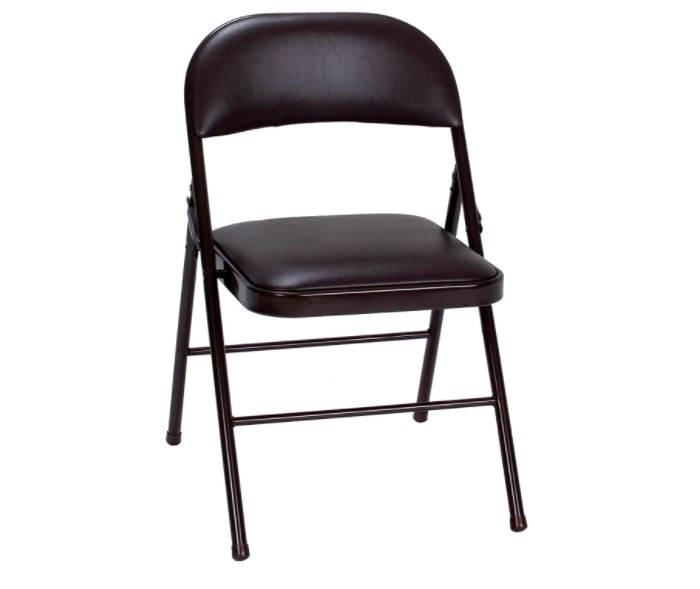 Black vinyl folding chair