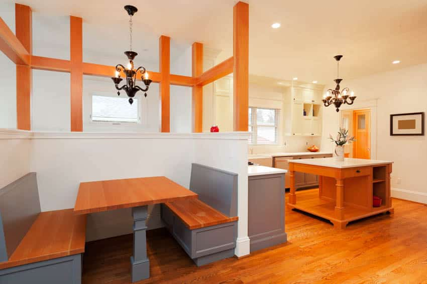 Booth with wood table floors and center island