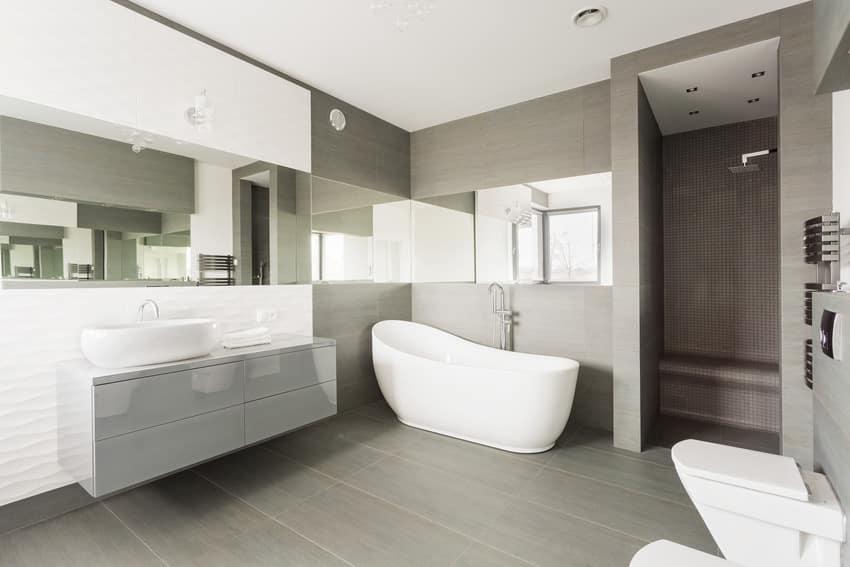 Classic gray and white bathroom interior