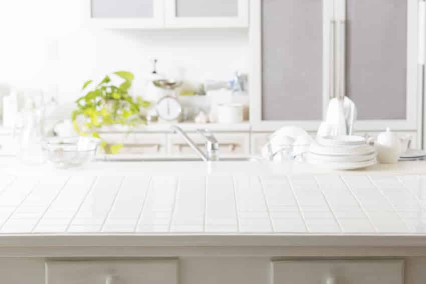 Classic kitchen interior with tile countertop