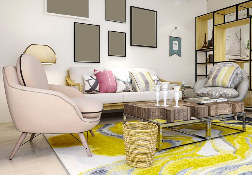 Clean and tidy modern living room design with cabinet sofa tv table leisure chair and colorful carpet