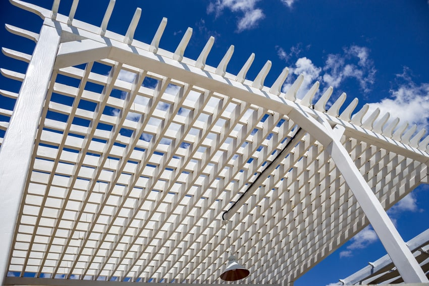 Close up of lattice patio cover
