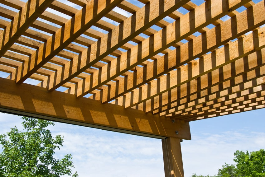 Close up of wood patio cover