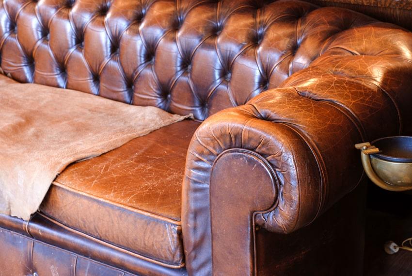 Closeup faux leather sofa