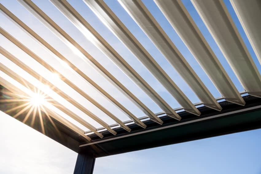 Closeup of louvered roof pergola