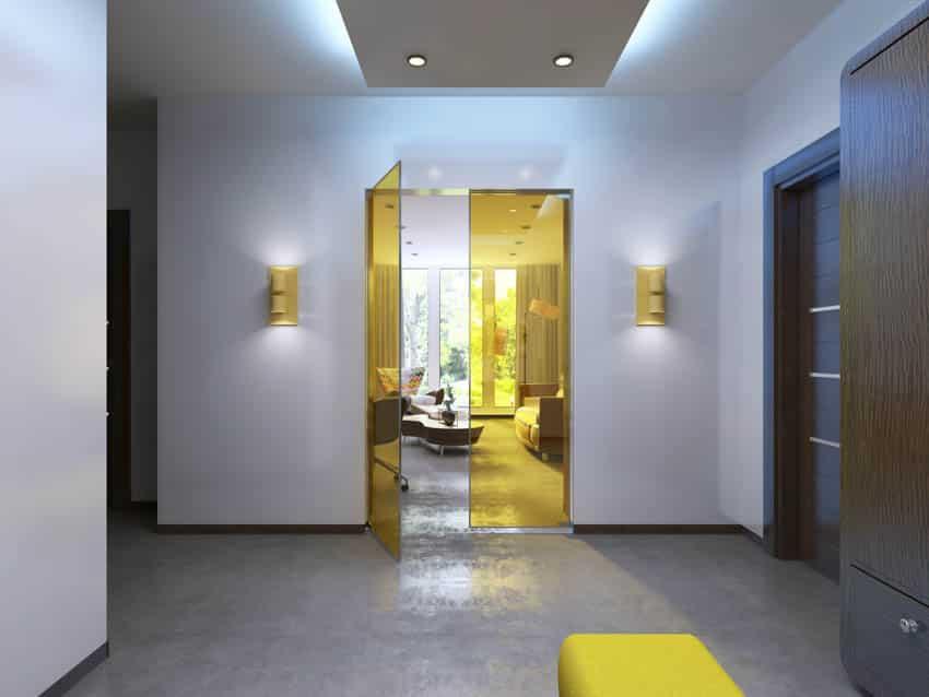 Colored glass doors interior