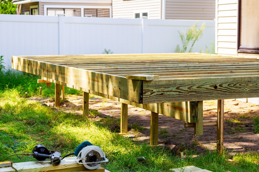 Construction of small elevated deck