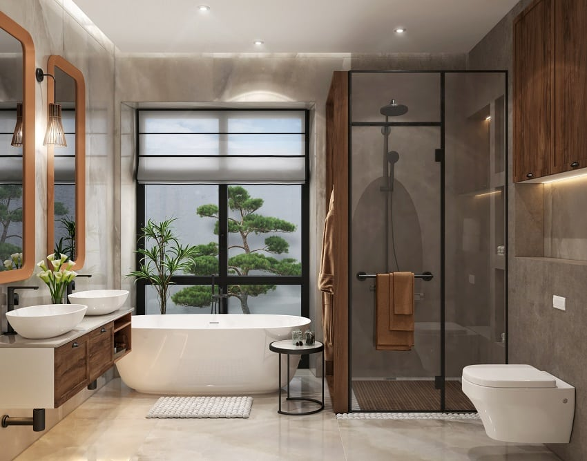 Contemporary combined bathroom style with slightly tinted shower glass door