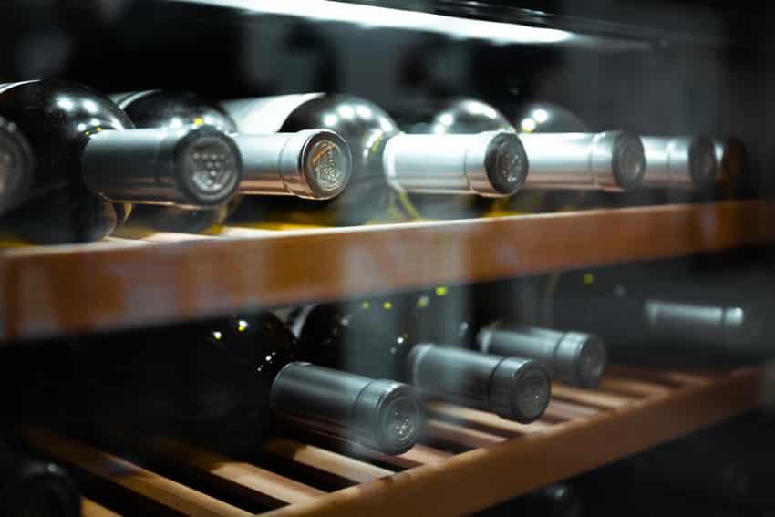 Cooling bottles of wine in fridge