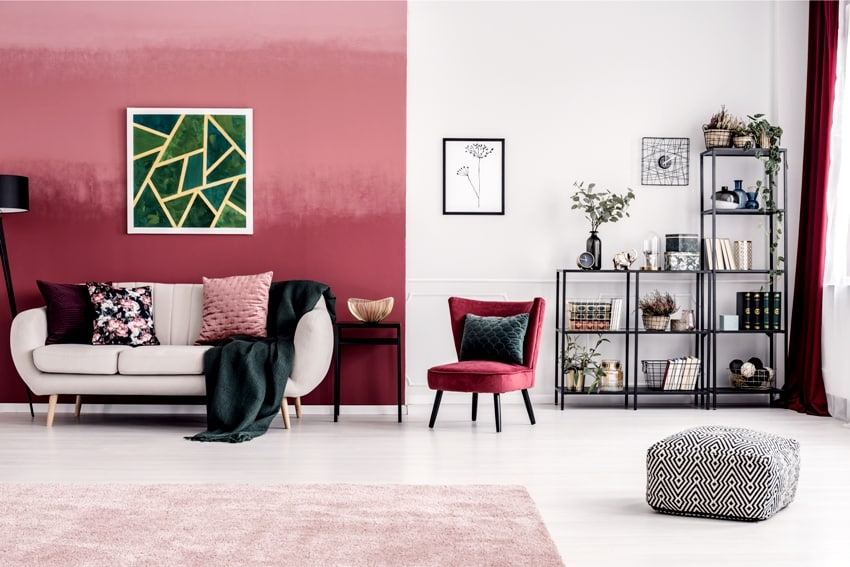 cozy living room interior with burgundy and white wall, bookcase and white sofa