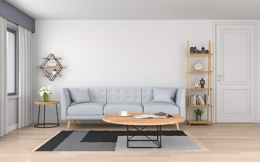 Cozy living room with gray sofa wooden table and stylish rug