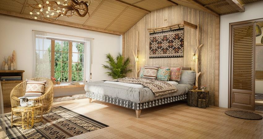 Cozy stylish bohemian style bedroom