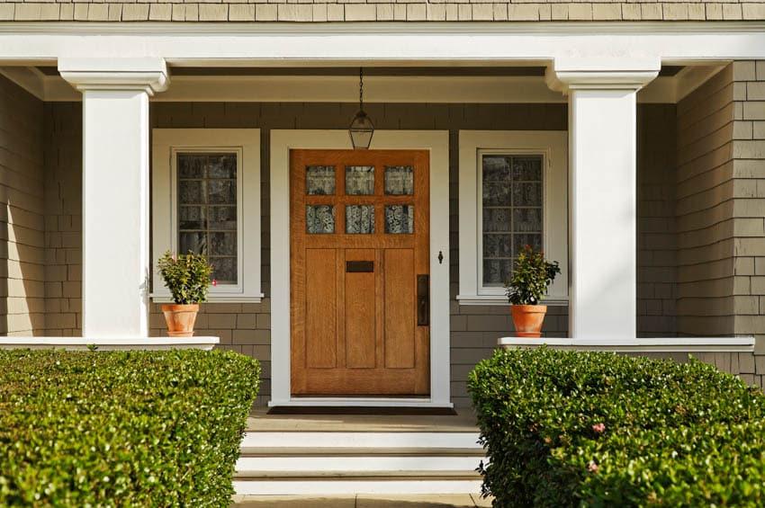 Craftsman home wood front door with glass windows