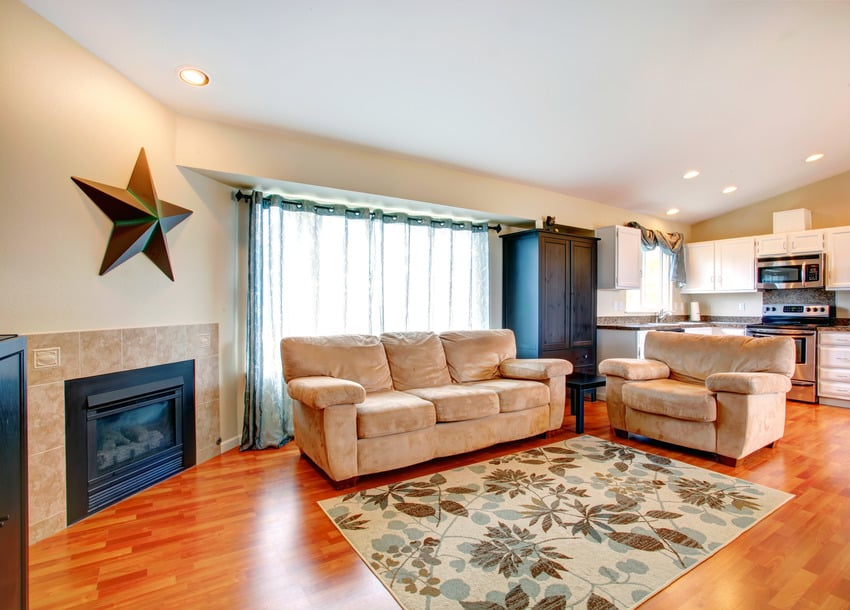 Dainty floral carpet in spacious living room