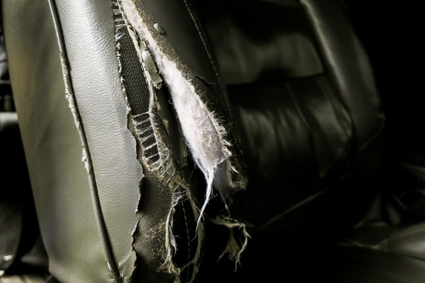 Damaged faux leather couch