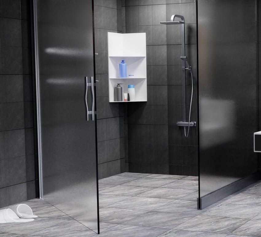 Dark bathroom interior with opaque glass shower door