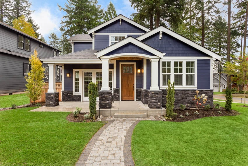 Dark blue color house with classic glass door
