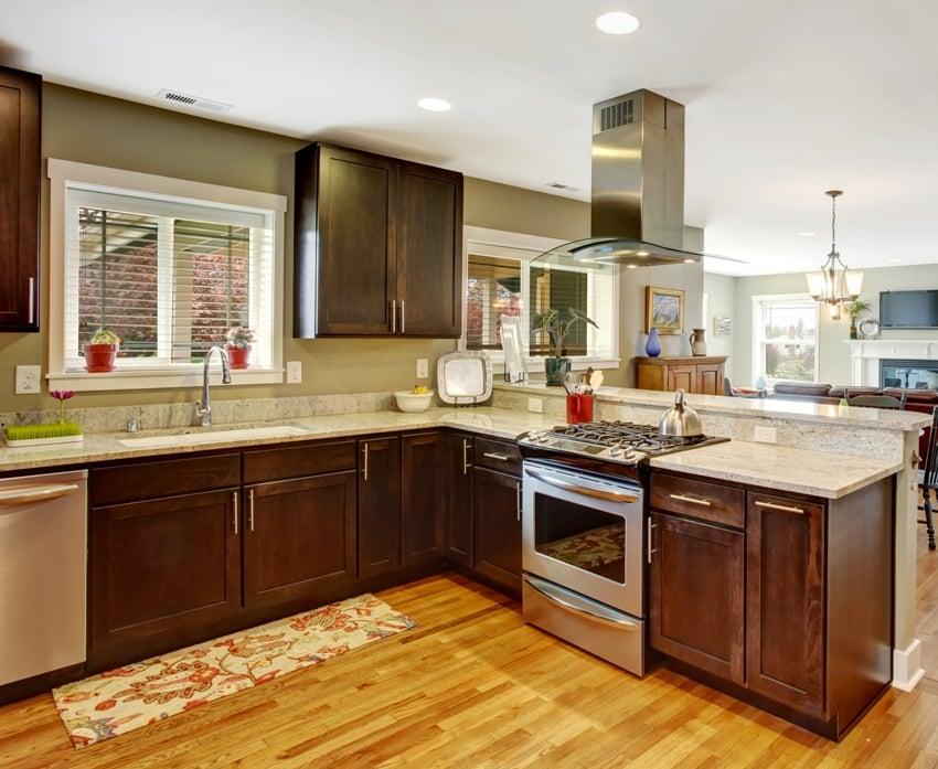 Dark brown kitchen room with steel appliances and hardwood floor