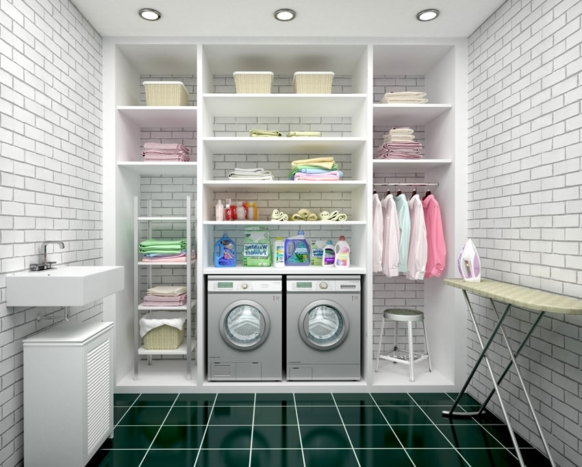 design of a laundry room with white shelves and supplies