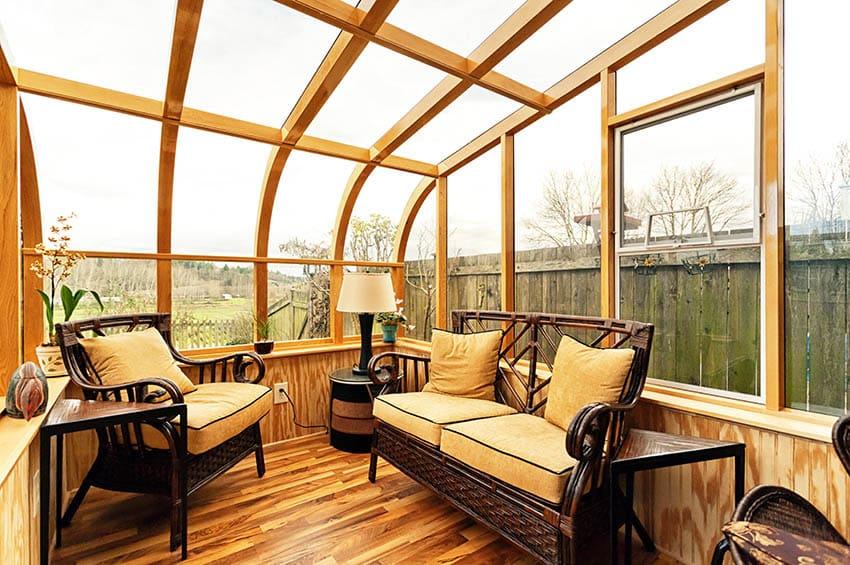 DIY sunroom built on backyard deck