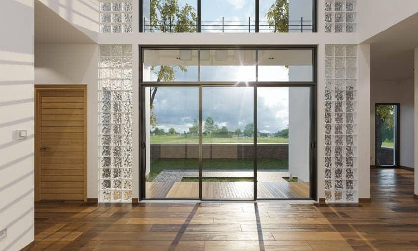 Door with modern glass block sidelight windows