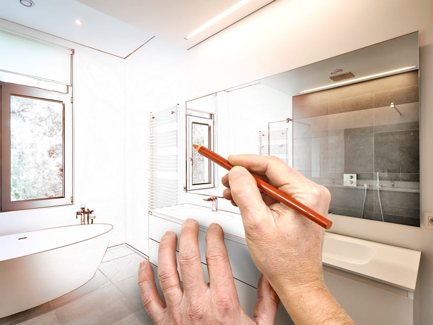 drafting renovation of a closet into modern bathroom with bathtub in corian faucet and shower in tiled bathroom with windows towards garden