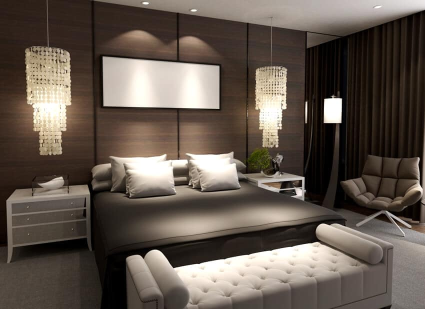 Elegant bedroom interior with bed chair bedside table and a tufted bedroom bench