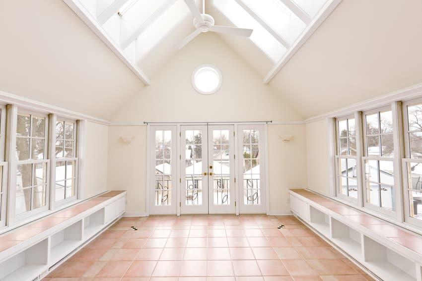Empty gable sunroom interior