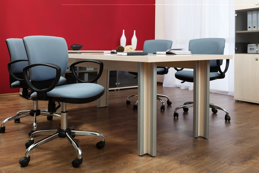 Fabric chairs in a modern office