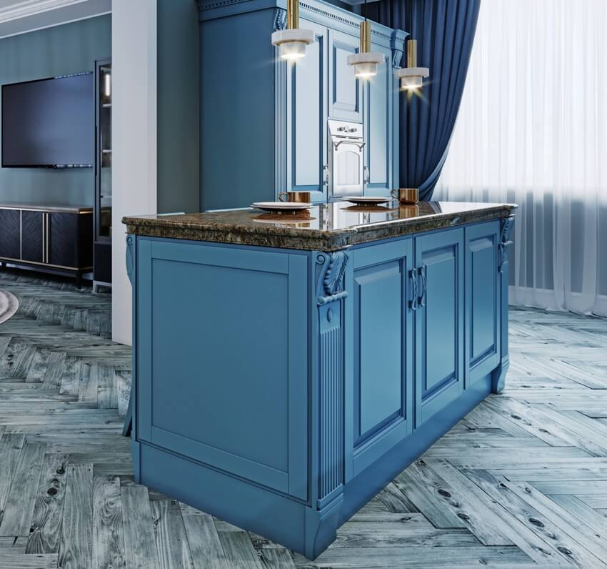 Fashionable kitchen with blue walls and blue furniture a kitchen in a modern classic style